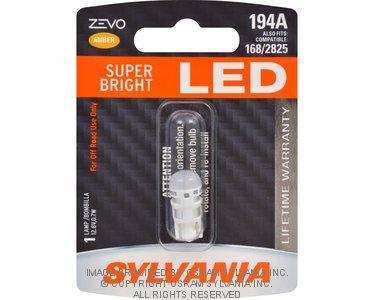 Sylvania - 32748 SYLVANIA ZEVO 194 T10 W5W Amber LED Bulb, (Contains 1 Bulb)